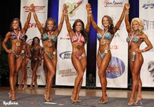 IFBB Pro Natalie Waples (Second from right) poses with her fellow competitors after placing third in a 2011 contest. Photo ©Ron Avidan