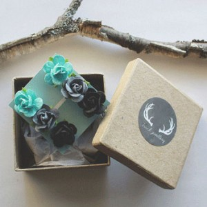 With Etsy purists always on the hunt for now-scarce handmade jewelry, the Blue & Grey Ombré Paper Rose Earring Gift Set is one of Brazeau-Wilson's best sellers.  [Photo © Samantha Brazeau-Wilson]