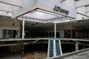 Since closing its last store in 2013, all that's left of the Rolling Acres Mall in Akron, Ohio is dust and disappointment. [Photo © Rob Vaughn]