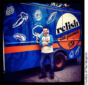 "Paul Bergeron stands in front of his truck ""Relish"""