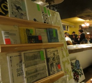 One stop shopping: The zine rack at Pressed carries a varied selection of local zines on sale for three to five dollars. [Photo © Fraser Tripp]
