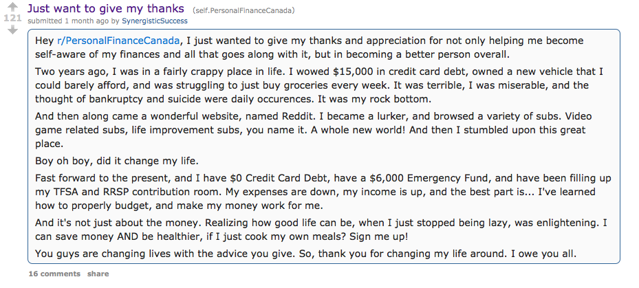 A Canadian Reddit user posts a thank you to the forum in February.